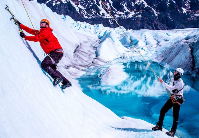 ice wall climbing on tour