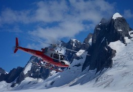 Photo of helicopter on glacier