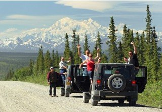 Photo of happy passengers stopping to enjoy the views