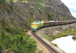 Photo of white pass train on the mountain