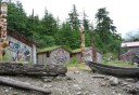 Photo of native houses at potlatch totem park