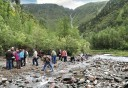 Photo of panning for gold at Gold Creek