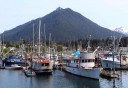 Photo of sitka harbor with mountains behind