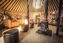 Photo of the inside of the Last Frontier Mushing Co op mongolian yurt