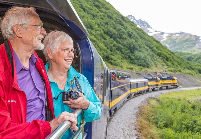 taking photos from an alaska train