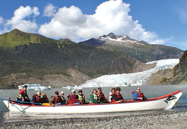 Photo of Lake Canoe in front of Mendenhall Glacier
